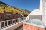Step out onto the deck to enjoy your private hot tub and the perfect Telluride location