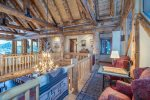 Gorgeous mountain lodge with tradition decor and antler chandelier