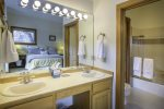 Double vanity sinks in the master bathroom