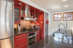 High-end kitchen with stainless steel appliances