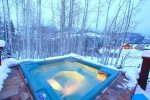 Large, private hot tub with aspen views