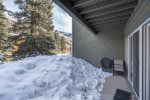 Views of the outdoor deck space in the winter