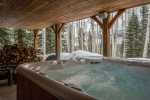 Soak in awesome views in the large salt water hot tub