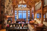 Stunning views, cathedral height ceilings, and cozy mountain decor