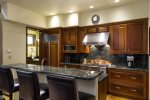 Gourmet chef`s kitchen with luxury appliances and a 6 burner range