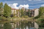 View of the Westermere complex across from the duck pond in the Mountain Village core