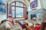 Great room with impressive mountain views, gas fireplace
