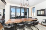 The dining area serves up seating for 6 with views for days
