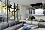 Beautiful full wall stain glass window Sleek Retreat Mission Bay Vacation House Rental