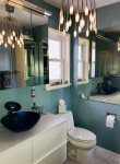 Beautiful NEW bathroom with custom mirror within mirrors