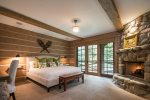 Bedroom 1- Master King Suite with Fireplace, TV, Deck Access