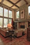 Living Area with River Views, Flat Screen TV, Gas Fireplace