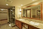 BR 1- Ensuite Bath with Dual Vanities, Glass Shower, Jetted Tub, Walk in Closet
