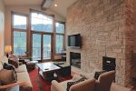 Living Area with Mountain Views, Fireplace, Flat Screen TV, Access to Balcony