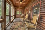 Main Level Screen Porch with 3 Rocking Chairs