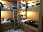 Lower Level Bedroom With 3 sets of Custom Made Bunk Beds 6 Twin