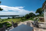 Sprawling Oceanfront Retreat on 16-acres, 180-degree water views, large dock on private point in Freeport