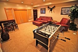 Downstairs - great room with foos ball table
