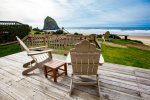 Oceanfront deck and private yard are ready to enjoy