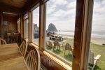 View of Haystack Rock from dining room table