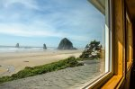 View of Haystack Rock from the upper level sitting area