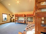 Spacious bunk room with room for indoor activities