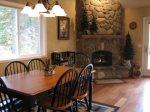 Dinning Area for Six with Hardwood Floors and Gas Fireplace