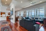 Large family gathering area with an expansive view of the bay