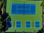 Tennis, pickleball courts and basketball hoop