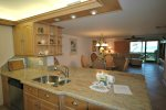 Kitchen into dining and living