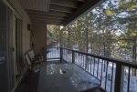 Deck with barbeque, patio dining for four, view of Ponderosa Pines