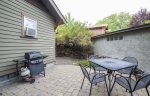 Patio seated dining for four, barbeque with propane provided