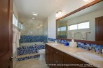 Blue tile in spacious bathroom