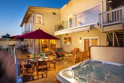 Entertainers delight, ocean facing back yard with hot tub