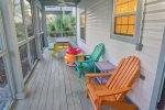 Screened Back Porch with Seating and Picnic Table