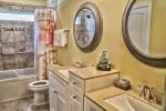 Second Floor Shared Hall Bath with Double Vanity and Tub/Shower Combo