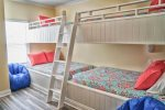 Second Floor Custom Bunk Room with 2 Sets of Full over Full Bunks