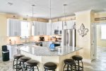 Beautiful Open Floor Plan View of Island Breakfast Bar with Additional Seating for 6