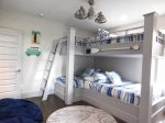 Second Floor Custom Bunk Room with 4 Full Size Beds and Private Bath