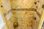Large Tiled Shower in Master Bathroom on First Floor