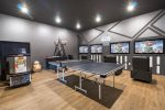 The games room features four 42-inch SMART TV, PlayStation 4, Xbox One, and Star Wars Arcade.