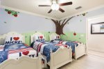 The kids will love their own themed bedroom with twin/twin/twin beds