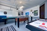 Get your game on with either the pool table, Foosball, or air hockey
