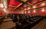 The theater offers luxurious leather seating for 29, a podium with microphone and stage