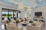 Elegant and stylish living area with amazing golf course views