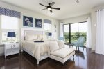 The second floor bedroom will offer a king bed and calming nautical decor