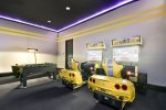 Enjoy this fully equipped racing themed game room