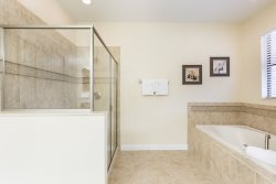 Cool down with a separate walk in shower and bathtub