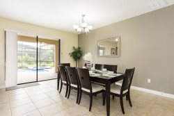 Elegant dining area has seating for 8 so everyone can enjoy a meal together