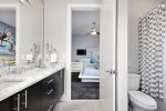 Bedroom 4 and 5 will share a full bathroom with marble dual vanity and shower/tub combo